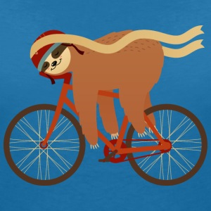 Sloth Sleeping On Bicycle T-shirts - Dame-T-shirt med V-udskæring