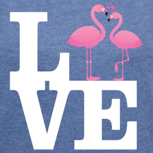Love Flamingo Couple with heart T-Shirts - Frauen T-Shirt mit gerollten Ärmeln