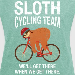 Sloth Cycling Team T-Shirts - Frauen T-Shirt mit gerollten Ärmeln