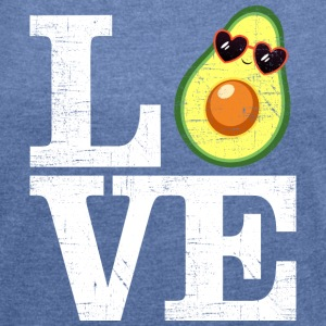 Love Avocado | Heart Sunglasses T-skjorter - T-skjorte med rulleermer for kvinner