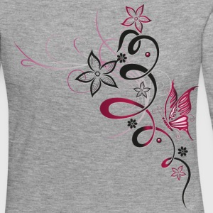 Flower with butterfly, cherry red Long Sleeve Shirts - Women's Premium Longsleeve Shirt