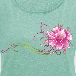 Colorful orchid with filigree ornament T-Shirts - Women's T-shirt with rolled up sleeves