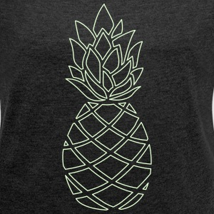 Pineapple glowing  - Frauen T-Shirt mit gerollten Ärmeln