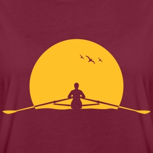 Rowing sunset rower rowing skulls T-Shirts - Women's Oversize T-Shirt