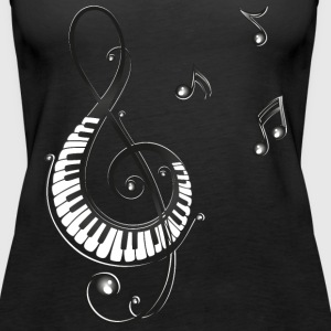 Clef with piano and music notes, i love music. Tops - Women's Premium Tank Top