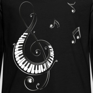 Clef with piano and music notes, i love music. Long Sleeve Shirts - Teenagers' Premium Longsleeve Shirt