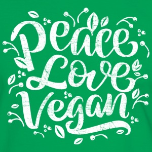 Peace, Love, Vegan | Typography Slogan T-Shirts - Männer Kontrast-T-Shirt