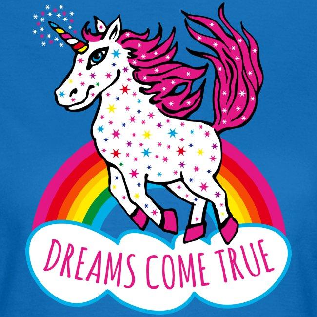 Einhorn Dreams come true Regenbogen T-Shirt