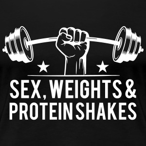 Sex weights and protein shakes T-shirts - Dame premium T-shirt