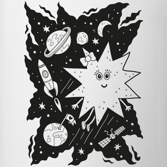 Stella Stern Tasse zum Ausmalen mit Weltraum, Planeten und Rakete