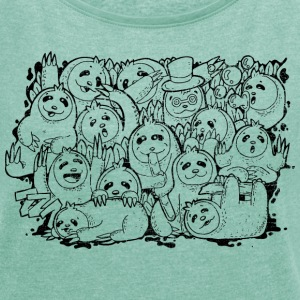 Heather mint Sloth Family T-Shirts - Women's T-shirt with rolled up sleeves
