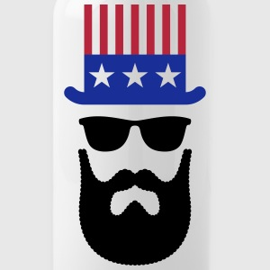 American Hipster (Beard / Bearded) Mugs & Drinkware - Water Bottle