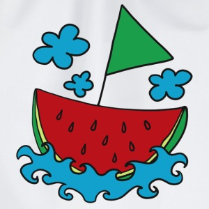 Melon, boat, ship, water-melon, summer, cloud Bags & Backpacks - Drawstring Bag