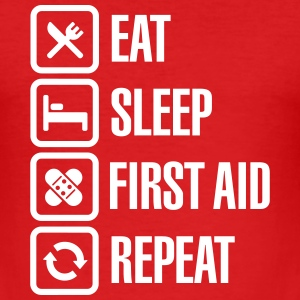 Eat Sleep First Aid Repeat T-Shirts - Men's Slim Fit T-Shirt