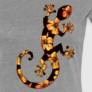 Gecko, hibiscus blomst, lucky charms, Ibiza, surfing T-shirts - Dame premium T-shirt