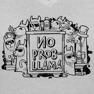 No Prob- Llama | Cool Illustration T-Shirts - Women's V-Neck T-Shirt