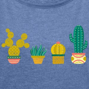 Cool Cactus Illustration Design T-Shirts - Frauen T-Shirt mit gerollten Ärmeln