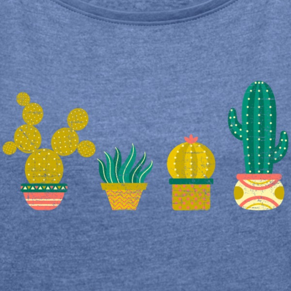 Cool Cactus Illustration Design T-Shirts - Women's T-shirt with rolled up sleeves
