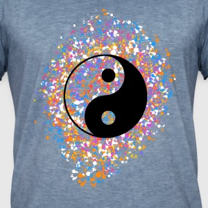 Yin Yang, Farbspritzer, Punkte, Farbe, bunt, T-Shirts - Männer Vintage T-Shirt