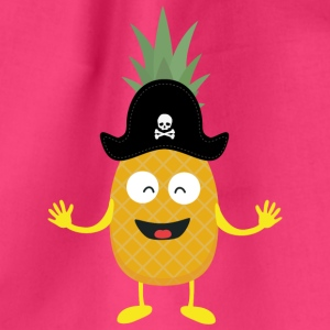 Pineapple Pirate with Hat Sk3o1 Bags & Backpacks - Drawstring Bag