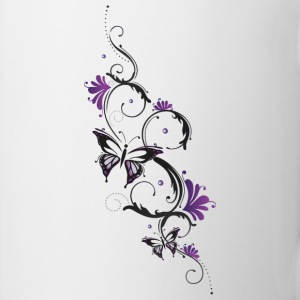 Floral ornament with butterfly and flowers. Mugs & Drinkware - Mug