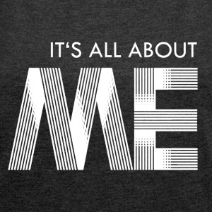 its all about me - white Camisetas - Camiseta con manga enrollada mujer