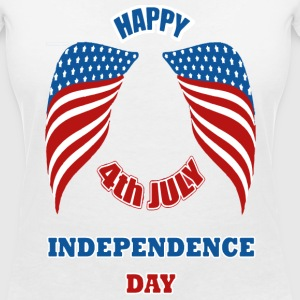 4th July America Independence Day Tee shirts - T-shirt col V Femme