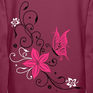 Flowers with filigree floral ornament. Feminine. Hoodies & Sweatshirts - Women's Premium Hoodie