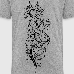 Filigree sunflowers, cool summer motif. - Kids' Premium T-Shirt