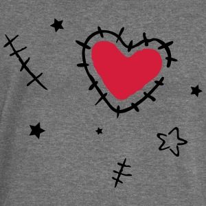 Heart with cracks and stars, grunge style. - Women's Boat Neck Long Sleeve Top