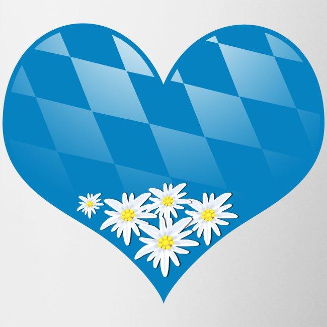 Bayern Herz mit Edelweiß