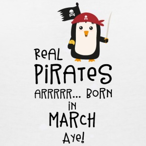 Real Pirates are born in MARCH Ssutv T-Shirts - Women's V-Neck T-Shirt