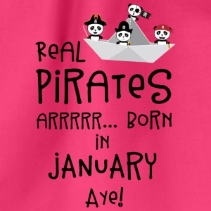 Real Pirates are born in JANUARY Sslix Bags & Backpacks - Drawstring Bag