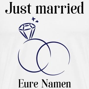 White rings, just married T-Shirts - Men's Premium T-Shirt