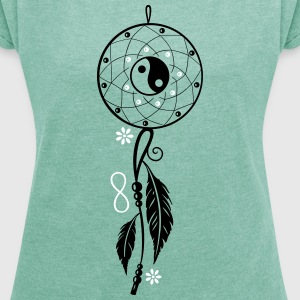 Dreamcatcher with feather, flutes, infinity symbol T-Shirts - Women's T-shirt with rolled up sleeves