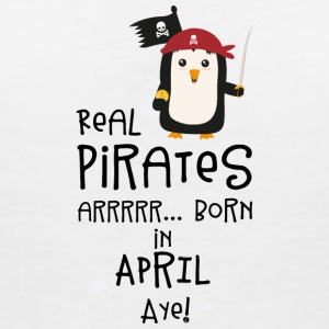 Real Pirates are born in APRIL Slwys T-Shirts - Women's V-Neck T-Shirt