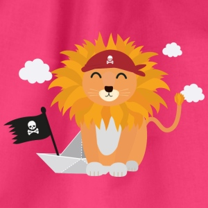 Lion Pirate with Pirateboat S4utl Bags & Backpacks - Drawstring Bag