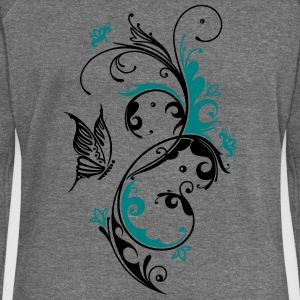 Floral motif with a large butterfly  - Women's Boat Neck Long Sleeve Top