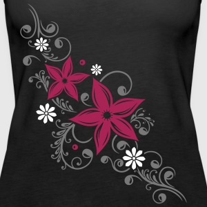 Flowers with filigree floral ornament. Summer time Tops - Women's Premium Tank Top