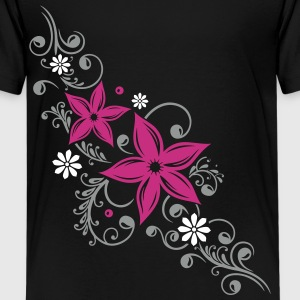 Flowers with filigree floral ornament. Summer time Shirts - Teenage Premium T-Shirt