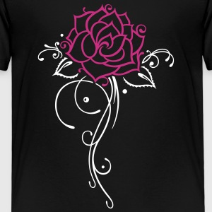 Rose, blomst med filigree ornament og blader. Skjorter - Premium T-skjorte for barn