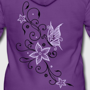 Flowers with filigree floral ornament, butterfly Hoodies & Sweatshirts - Women's Premium Hooded Jacket