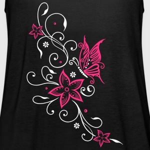 Flowers with filigree floral ornament, butterfly Tops - Women's Tank Top by Bella