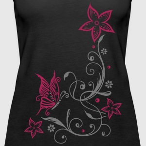 Flowers with filigree floral ornament, butterfly Tops - Women's Premium Tank Top