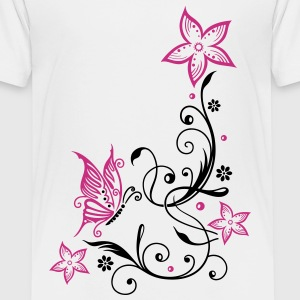 Flowers with filigree floral ornament, butterfly Shirts - Teenage Premium T-Shirt