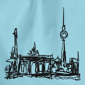 TV Tower, Berlin, Brandenburg Gate, drawing Bags & Backpacks - Drawstring Bag