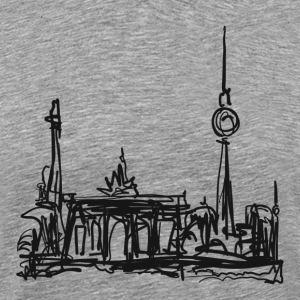 TV Tower, Berlin, Brandenburg Gate, drawing T-Shirts - Men's Premium T-Shirt