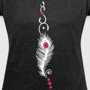 Feather, peacock feather, indian style, jewelry - Women's T-shirt with rolled up sleeves