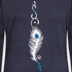 Feather, peacock feather, indian style, jewelry - Women's Boat Neck Long Sleeve Top