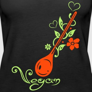 Healthy cooking, cooking spoon with flowers - Women's Premium Tank Top